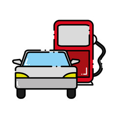dashed line vehicle transport in the gas station fuel