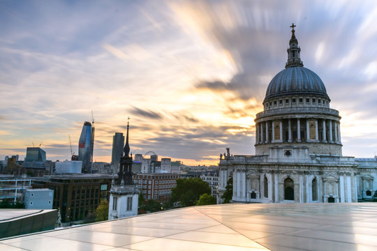 view of St. Paul's cathedral  during the sunset. Iconic building and attraction in London with a great view of the city and the river from above.