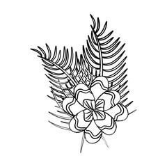 assorted flowers emblem wild icon image vector illustration design  black sketch line