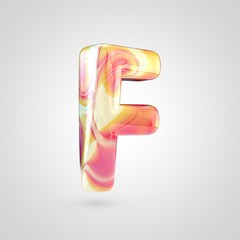 Glossy holographic letter F uppercase isolated on white background