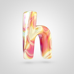 Glossy holographic letter H lowercase isolated on white background