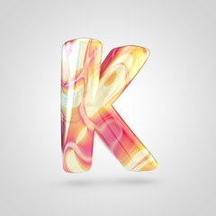 Glossy holographic letter K uppercase isolated on white background