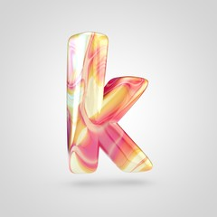 Glossy holographic letter K lowercase isolated on white background