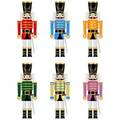 set of a six colorful nutcrackers