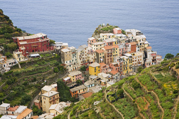 Italy, Manarola. Overview of town.