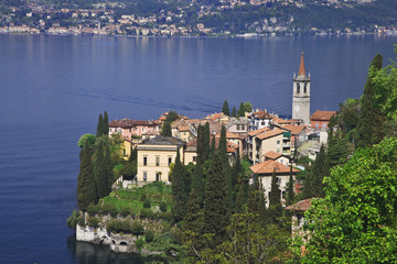 Italy, Varenna. Overview of town and Lake Como.