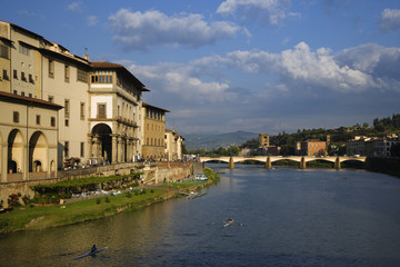 Italy, Florence. Kayakers on River Arno. Florence, Italy.