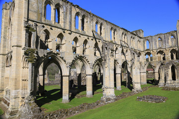 England, North Yorkshire, Rievaulx. 13th century Cistercian ruins of Rievaulx Abbey. English Heritage and National Trust Site. Near River Rye.