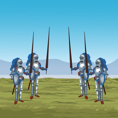 Medieval warriors on war vector illustration graphic design