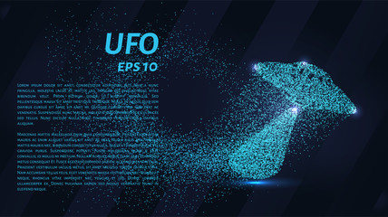 UFO from the particles. UFO is made of circles and dots. Vector illustration