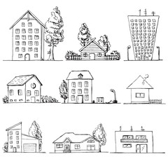 Hand drawn set of different houses. Vector illustration in a sketch style.