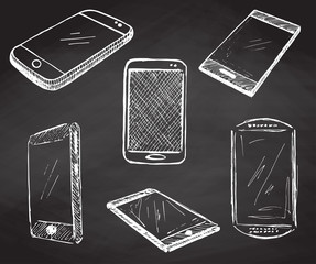 Sketch different phones, smartphones. Vector illustration