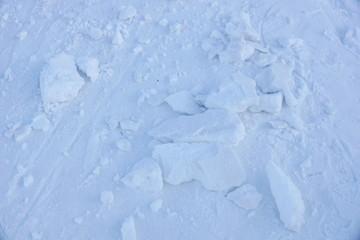 texture of snow cover. broken pieces of snow