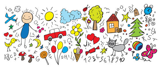 Children's drawings, vector illustration