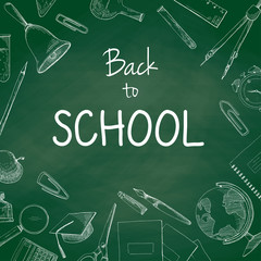 Green school chalkboard with the words Back to School. Vector illustration of a sketch style.