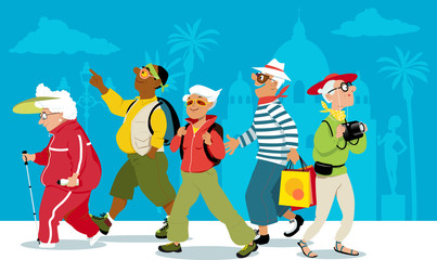 Group of active senior tourists exploring an exotic city, EPS 8 vector illustration