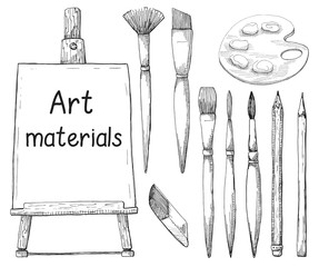 Hand drawn art material isolated on white background. The inscription on the canvas Atr materials. Vector illustration of a sketch style