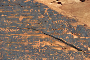 USA, Nevada. Valley of Fire State Park. Human petroglyphs