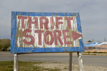 USA, Nevada. Beatty, old plywood thrift store sign