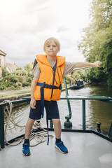 Portrait of boy in life vest