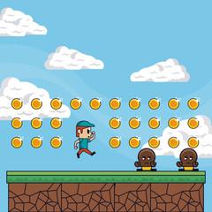 Pixelated game scenery vector illustration graphic design