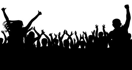 Cheerful people crowd, silhouette. Party, applause. Fans dance concert, disco