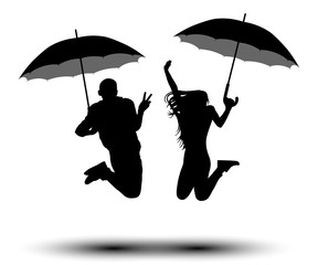 Man and woman with umbrellas in jumping silhouette. People with parasol from the rain. Vector on white background