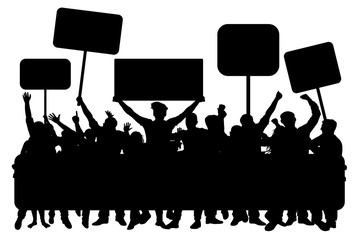Crowd of people with banners, silhouette vector. Demonstration, manifestation, protest, strike, revolution