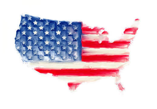 USA America map flag art painting design