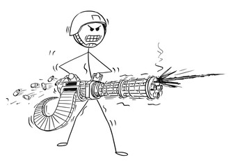 Cartoon stick man drawing conceptual illustration of soldier shooting from Rotary Machine Gun Cannon.