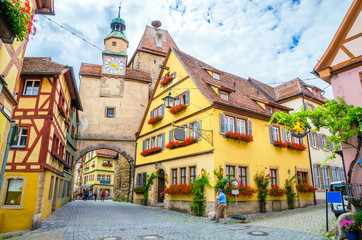 Beautiful streets in Rothenburg ob der Tauber with traditional German houses, Bavaria, Germany