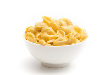 Macaroni Shells and Cheese on a White Background