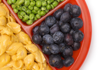 Child's Meal of Macoroni Shells and Cheese, Peas and Blueberries - A healthy and balanced meal