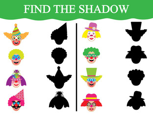Educational game for children. Development of attention. Find the shadows of clown's faces. Vector illustration.