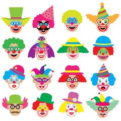 Clowns faces, icons, big set. Vector illustration.