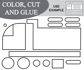 Activity for children. Color, cut and glue image of dump truck. Kids game.