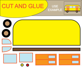 Create the image of bus using scissors and glue. Educational paper kids game. Vector illustration.