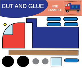 Application. Cut and glue image of dump truck. Educational game for children.