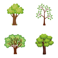 set trees plants icons vector illustration design