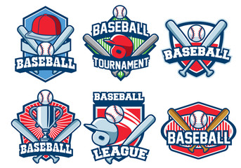 baseball badge design set