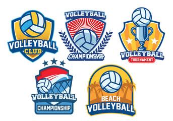 volleyball badge design set