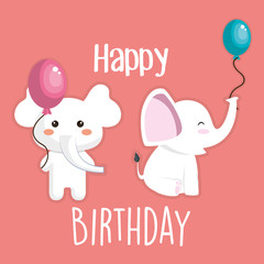happy birthday card with cute elephant character vector illustration design