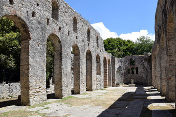 Ruins of church in Buthrotum, ancient city in south Albania. Butrint.