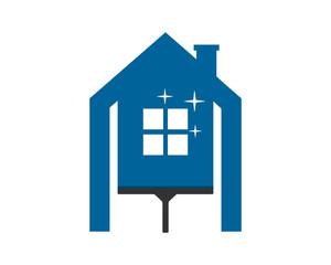 cleaner wiper the sparkle blue house home window image vector icon