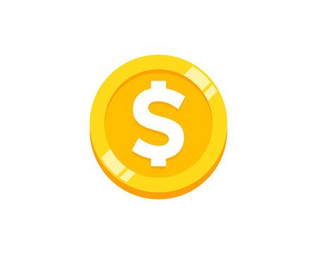 Coin Icon Logo Design Element