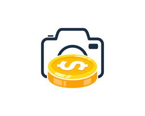Photo Coin Icon Logo Design Element