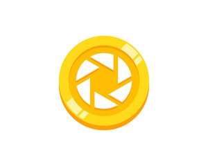 Camera Coin Icon Logo Design Element