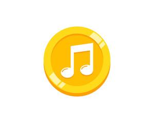 Coin Music Icon Logo Design Element