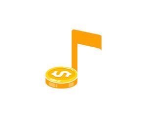 Music Coin Icon Logo Design Element