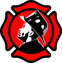 firefighter in black and white with red and black emblem